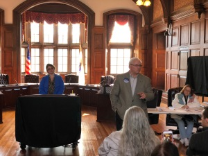 Essex County District Attorney Jon Blodgett speaks to Methuen Dems