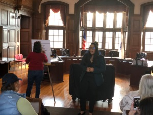 Candidate for Congress Juana Matias speaks to Methuen Dems