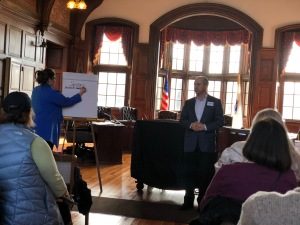 Candidate for Governor Jay Gonzalez speaks to Methuen Dems
