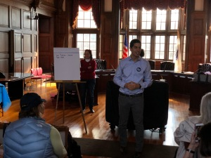 Candidate for Congress Dan Koh speaks to Methuen Dems
