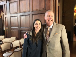 With Rep. Diana DiZoglio at the Mayor Zanni portrait event.